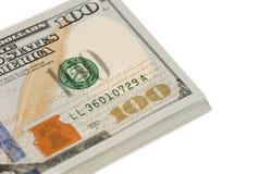Isolerad closeup för dollarsedel pengar Arkivfoto