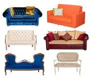 Isolerad collage av den olika soffan royaltyfri fotografi