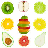 isolerad collagefrukt arkivbild
