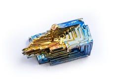 Isolerad crystalized vismut Fotografering för Bildbyråer