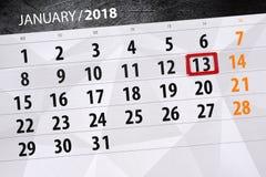 Isolerad daglig kalender Januari 13 för bakgrund Royaltyfria Bilder