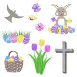Isolerad easter collage med korset och duvan för fjärilar för grönt gräs för blommor för tulpan för äggkorgkanin Royaltyfri Foto