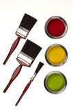 Isolerad emulsionmålarfärg - målarpenslar - Royaltyfria Foton
