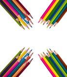 isolerad färg pencils white fotografering för bildbyråer