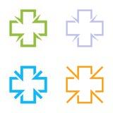 Isolerad färgrik arg vektorlogouppsättning Medicinsk samling för teckenkonturlogotyper Sjukhussymbolgrupp på viten Royaltyfria Bilder