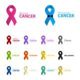 Isolerad färgrik bandlogouppsättning på den vita bakgrunden Mot cancerlogotyp Stoppa prostatasjukdomsymbolet Arkivfoto
