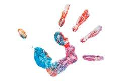 Isolerad färgrik hand som målas Arkivfoto
