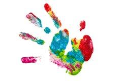 Isolerad färgrik hand som målas Arkivbilder