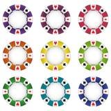 Isolerad färgrik vektor för chip för poker nio stock illustrationer