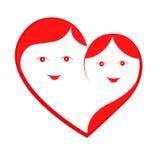 Isolerad förälskelsehjärta med konturn av mannen och kvinnor på den vita bakgrunden Royaltyfria Foton