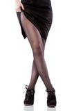 isolerad för skowhite för ben sexig kvinna Arkivfoto
