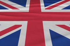 Isolerad Förenade kungariket flagga som vinkar realistiskt Förenade kungariket tyg för 3d Arkivbilder