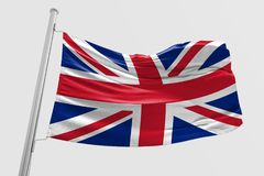 Isolerad Förenade kungariket flagga som vinkar realistiskt Förenade kungariket tyg för 3d Royaltyfria Bilder