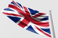 Isolerad Förenade kungariket flagga som vinkar realistiskt Förenade kungariket tyg för 3d Royaltyfri Bild