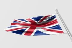 Isolerad Förenade kungariket flagga som vinkar realistiskt Förenade kungariket tyg för 3d Fotografering för Bildbyråer