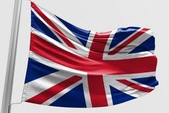 Isolerad Förenade kungariket flagga som vinkar realistiskt Förenade kungariket tyg för 3d Arkivfoton