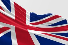 Isolerad Förenade kungariket flagga som vinkar realistiskt Förenade kungariket tyg för 3d Royaltyfri Foto