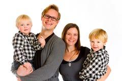 Isolerad familj av fyra Royaltyfria Bilder