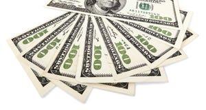 Isolerad fan för 100 US$-räkningar Arkivfoton