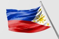 Isolerad filippinsk flagga som vinkar realistiskt tyg 3d Fotografering för Bildbyråer