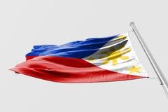 Isolerad filippinsk flagga som vinkar realistiskt tyg 3d Royaltyfri Fotografi