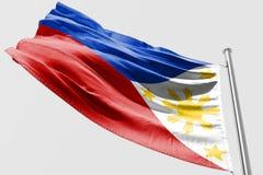 Isolerad filippinsk flagga som vinkar realistiskt tyg 3d Arkivfoto
