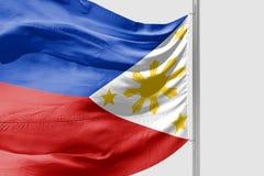 Isolerad filippinsk flagga som vinkar realistiskt tyg 3d Arkivfoton