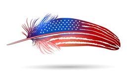 Isolerad fjäder på vit bakgrund. Amerikanska flaggan Royaltyfri Bild