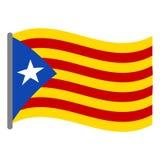 Isolerad flagga av Catalonia Arkivbild