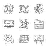 Isolerad fodrad skisserad symbolsuppsättning för TV-serie thin Arkivfoto