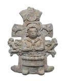 Isolerad forntida Aztec staty. Royaltyfri Bild
