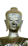 Isolerad forntida buddismstaty för halv kropp i den Laos templet Royaltyfria Bilder
