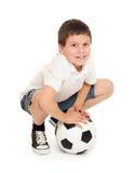 Isolerad fotbollpojkestudio Arkivfoto