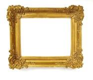 Isolerad fotoram, liten guld- antik fotoram, tappningram arkivbild