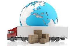 isolerad fraktinternational truckl Arkivbilder