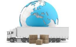 isolerad fraktinternational truckl vektor illustrationer