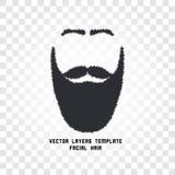 Isolerad framsida med mustasch- och skäggvektorlogo Manbarberaren shoppar emblemet Arkivfoto