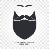 Isolerad framsida med mustasch- och skäggvektorlogo Manbarberaren shoppar emblemet Royaltyfri Bild