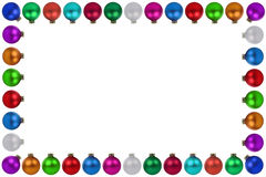 Isolerad färgrik garnering för ram för julbollstruntsaker Arkivbild