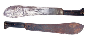 Isolerad gammal machete Arkivfoto