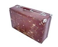 isolerad gammal röd retro resväska Royaltyfri Bild