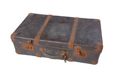 isolerad gammal resväskatappningwhite Royaltyfri Foto