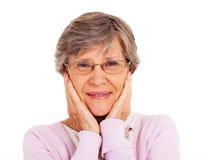 Isolerad gammalare kvinna Royaltyfria Bilder