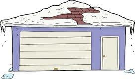 Isolerad garage och dörr med snö Royaltyfri Bild