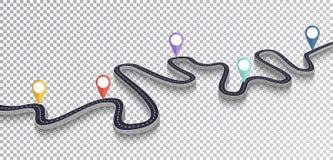 Isolerad genomskinlig specialeffekt för slingrig väg Mall för läge för vägväg infographic 10 eps royaltyfri illustrationer