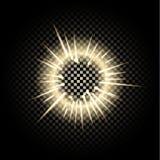 Isolerad Glass sfär av glödande ljuseffekter på genomskinlig bakgrund Fotografering för Bildbyråer