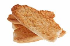 Isolerad gourp av den torkade skivan av bröd royaltyfri bild