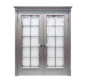 Isolerad grå dörr royaltyfri fotografi