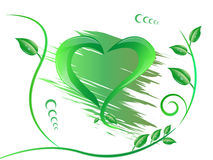 Isolerad grön form av hjärta Arkivfoton