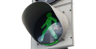 Isolerad grön fot- trafikljus arkivbilder